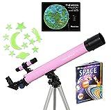 Pink TwinStar AstroMark 50mm 75x Refractor Telescope Kids Pak Bundle