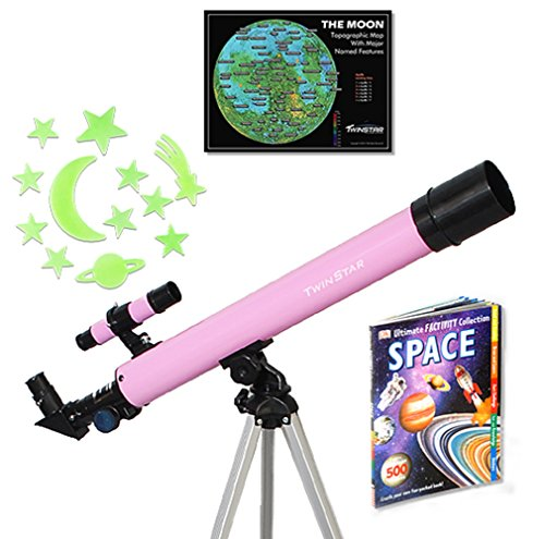 Twin Star 50mm Beginner Compact Refractor Travel Telescope Brand (TwinStar 50mm Refractor Telescope 75x, Pink)