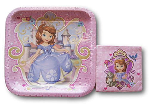 Disney Sofia The First Party Supply Kit - Dinner Plates and Beverage -