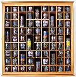 71 Shot Glass Display Case Holder Cabinet Rack, Glass Door, Solid Wood, Oak Finish (SC08-OA)
