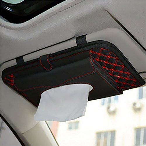E Prance New Double Deck Auto Car Visor Cd Dvd Bag Storage Holder Tissue Bag Red Black