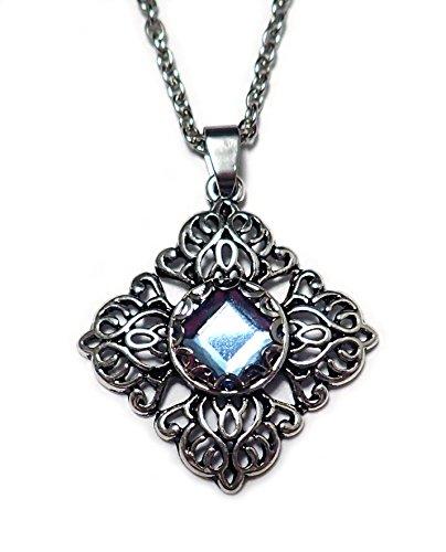 Silver Filigree Pendant Light Blue Rhinestone ()