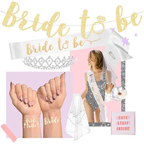(xo, Fetti Bachelorette Party Bride To Be Decorations Kit - Bridal Shower Decorations | Sash For Bride, Rhinestone Tiara, Gold Glitter Banner, Veil + Bride Tribe Flash Tattoos)