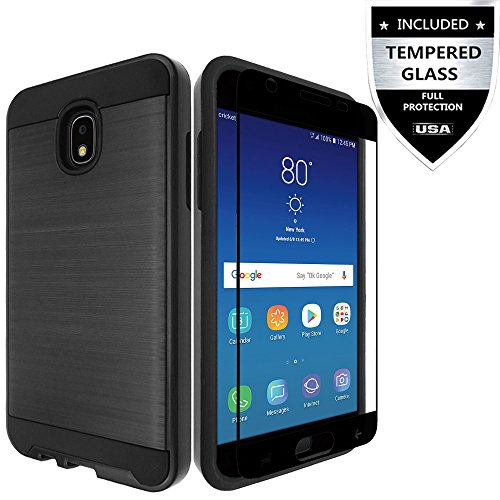 Samsung Galaxy J7 2018/Galaxy J7 Refine/J7 Star/J7 TOP/J7 V 2nd Gen 2018/J7 Aero/J7 Aura/J7 Crown Case with Tempered Glass Screen Protector,IDEA LINE Hybrid Shockproof Slim Fit Brushed Cover - Black