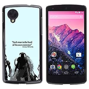 MOBMART Slim Sleek Hard Back Case Cover Armor Shell FOR LG Nexus 5 D820 D821 - Bard Or Existence - Cormac Mccarthy - Dragonborn