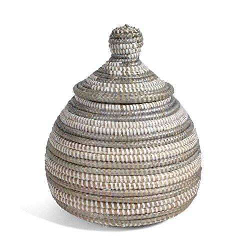 rn African Fair Trade Handwoven Lidded Gourd Basket, Silver/White (African Gourd)