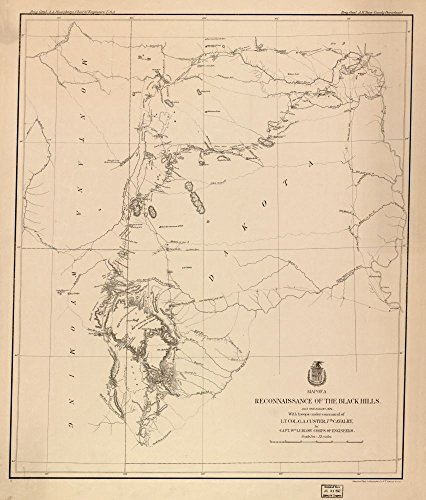 Vintage 1874 Map of reconnaissance of the Black Hills, July and August, 1874, with troops under command of Lt. Col. G.A. Custer, 7th Cavalry - Shows exploration routes and dates. - Relief shown by hachures and spot heights. - LC Civil War maps (2nd ed.), S184 - Available also through the Library of Congress Web site as a raster image. - Includes notes indicating general topography. - In top ma Black Hills, Dakota Territory, Sount Dakota, South Dakota, United States, Wyoming