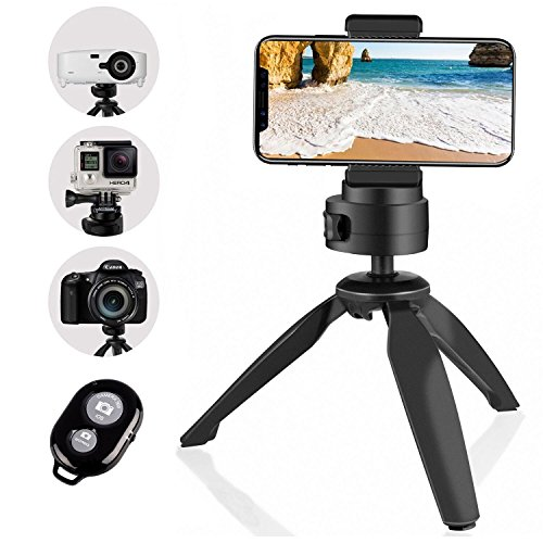 Heavy Duty Tripod, UBeesize Phone Camera Tabletop Mini Tripod Cell Phone Clip Holder, Compatible iPhone, Smartphones, Gopro, Webcams, Compact Cameras DSLRs