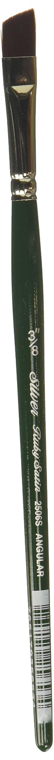 Silver Brush 2506S-038 Ruby Satin Short Handle Synthetic Brush, Angular, 3/8-Inch
