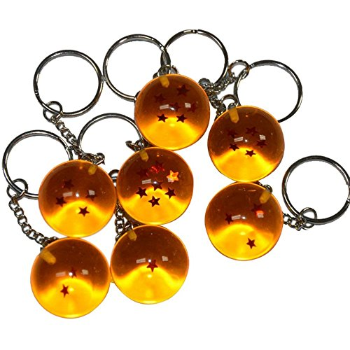 7 Pcs Cosplay Anime Cartoon Dragon Z Key Chain Ring Jewelry Ball 1-7 Star PVC - 1 Keychain Pc