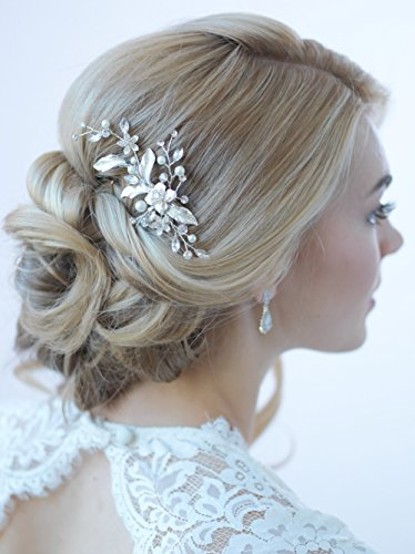 USABride Bridal Comb Petite Floral Ivory Leaf Design with Rhinestones and Simulated Pearls, Wedding Hair Accessory Headpiece for Women TC-2276
