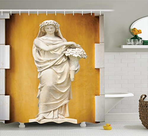 Ambesonne Sculptures Decor Collection, Statue of Greece and Rome Women with Flower Bouquet Roman Culture Image Pattern, Polyester Fabric Bathroom Shower Curtain, 84 Inches Extra Long, Mustard Ivory - Bouquets Images