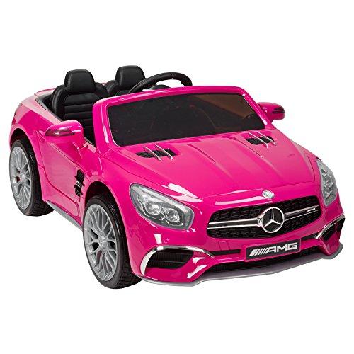 Pink Roadster Pedal Car - Uenjoy 12V Power Wheels Licensed Mercedes-Benz SL65 AMG Roadster Kids Ride-On Car Electric w/Remote Control 3 Speeds LED Lights & Spring Suspension & Safety Lock Painted Pink