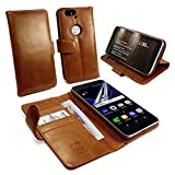Tuff-Luv Vintage Leather Wallet Case Cover for Huawei Nexus 6P (Free Screen Protector) - Brown
