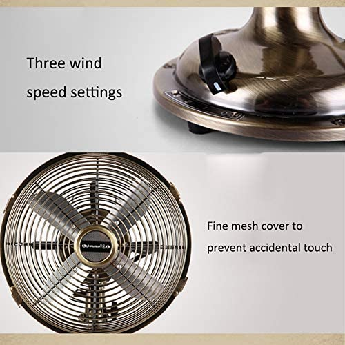 Table Fans SYLJ 12-Inch Metal Vintage Industrial Style, 3 Wind Speed Settings Silent And Swing Function, Metal Fan Blades