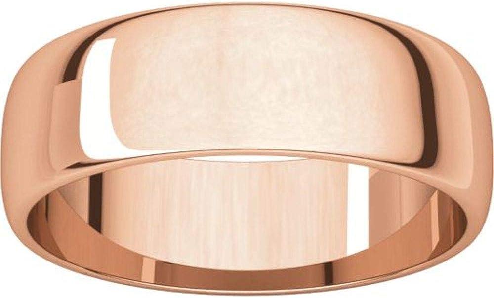 Size 12 Bonyak Jewelry 10k Rose Gold 6 mm Half Round Lightweight Band