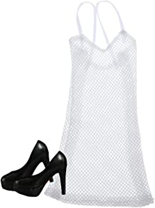 Injoyo 1/6 Scale Soldier White Mesh Dress W/ High Heel Shoes for Kumik Clothing