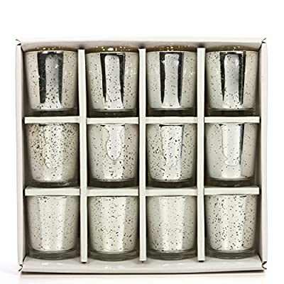Hosley Set of 12 Metallic Mercury Finish Speckled Votive Tealight Holders 3 Inch High. Ideal Gift and Use for Weddings Spa Aromatherapy Tealights Candle Gardens O4