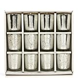 Hosley Set of 12 Metallic Glass, Speckled Silver Finish Votive/Tea Light Holder, 3'' High Each. Ideal Gift and Use for Weddings, Spa, Aromatherapy, Tealights, Candle Gardens O4