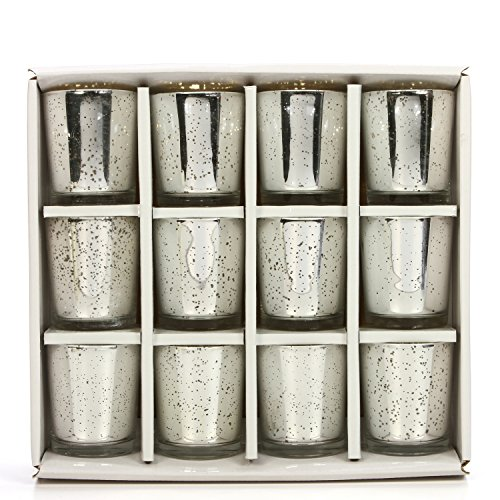 Garden Votive Light Candle - Hosley Set of 12 Metallic Glass, Speckled Silver Finish Votive/Tea Light Holder, 3