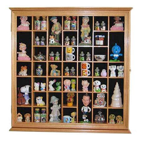 Collectible Display Case Wall Curio Cabinet Shadow Box, Solid Wood, Glass Door (Oak Finish)