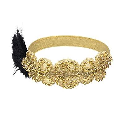 PrettyGuide Women 1920s Flapper Headpiece Bead Feather Headband Gatsby Headdress