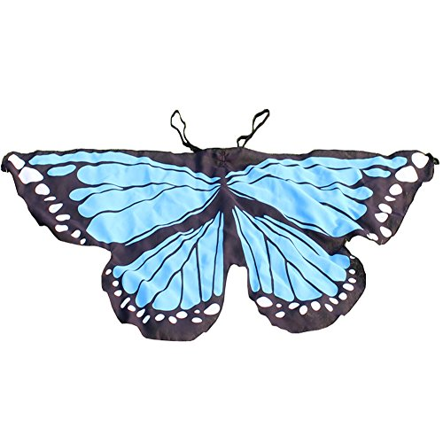 Dress Ups For Kids (Halloween Butterfly Dreamy Dress-ups Fanciful Fabric Wings Party Prop Cosplay(Sky Blue))