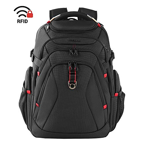 (KROSER Travel Laptop Backpack 17.3 Inch XL Heavy Duty Computer Backpack with USB Charging Port RFID Pockets Water-Repellent Business College Daypack Stylish Big School Laptop Bag for Men/Women-Black)