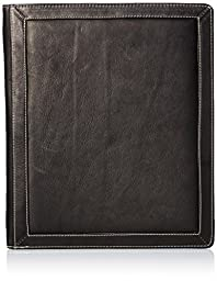 Piel Leather Three-Ring Binder Bl, Black