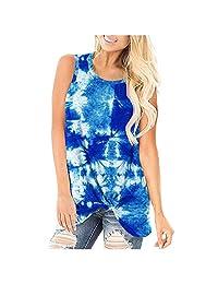 Ackful Women Fashion Loose Sleeveless Tie-dye O-Neck Casual Solid Sleeveless T-Shirt Blouse Tops