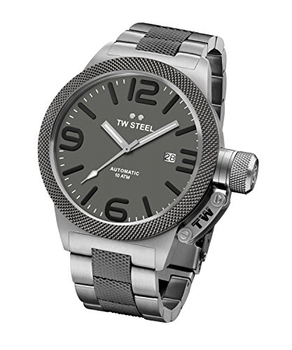 Tw Steel Cb206 Men's Canteen Auto Ss And Titanium Ip Ss Grey Dial Watch