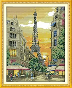 The iron tower with sunset,11CT Printed 42cm/×52 or 16.38/×20.28 Joy Sunday Cross Stitch kits