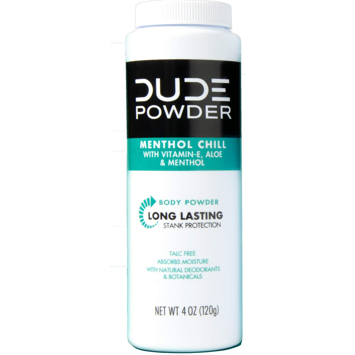 DUDE Body Powder, Menthol Chill 4 Ounce 3 Bottle Pack Natural Deodorizers Cooling Menthol Aloe, Talc Free Formula, Corn-Starch Based Daily Post-Shower Deodorizing Powder for Men