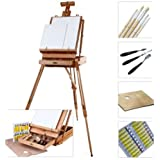 Artina® Artist Tripod Case Easel Madrid Solid Pine Wood Incl. Painting Set with Acrylic Paints Brushes Canvas Pallette