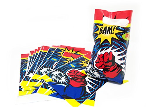 Superhero Themed Party Supplies Treat Bags- Party Favor Bags, Bam! Wow! Pow!- 16 (Superhero Themed Parties)