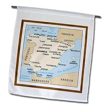 3dRose fl _ 119795 _ 1 mapa moderno de España con las ciudades jardín bandera,
