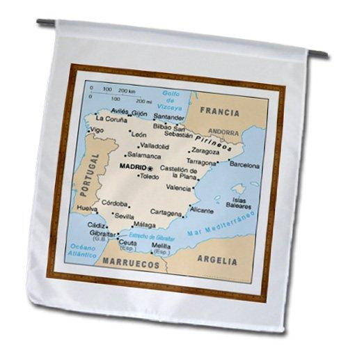 3dRose fl _ 119795 _ 1 mapa moderno de España con las ciudades jardín bandera, 12 por 45, 72 cm: Amazon.es: Jardín