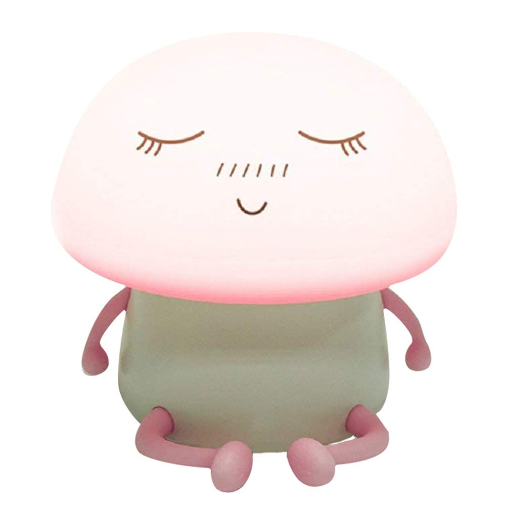 Tap Control Cute Night Light Portable LED Soft Silicone Atmosphere Rechargeable Bedside Lighting Lamp (Pink)