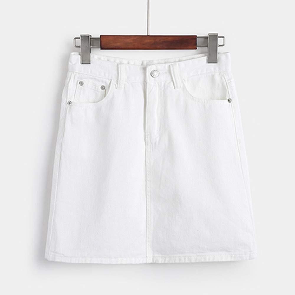 HEHEAB Falda,Mini Falda Blanca Denim Mujeres Coreanas De Verano ...