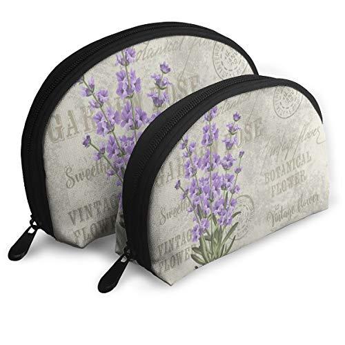 Guali Portable Shell Makeup Storage Bag Lavender Flower Vintage Travel Makeup Clutch Bag Handbag Phone Cash Coin Purse (Set Of 2)
