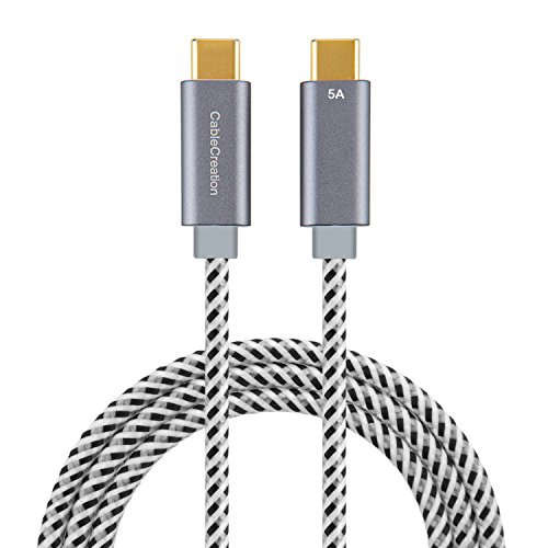 USB Type C Cable (5A), CableCreation 6ft USB-C to USB-C Cord, Support 100W Power Delivery, Fast Charge Cable compatible with Macbook Pro 15-inch,Pixel XL 2, 1.8M/Space Gray by CableCreation