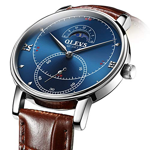 (Watches for Men Waterproof Casual Style Blue Dial/Brown Leather Strap New pop Style Man Wrist Watch Analog Quartz Movement Watch G5874PZ-BL )
