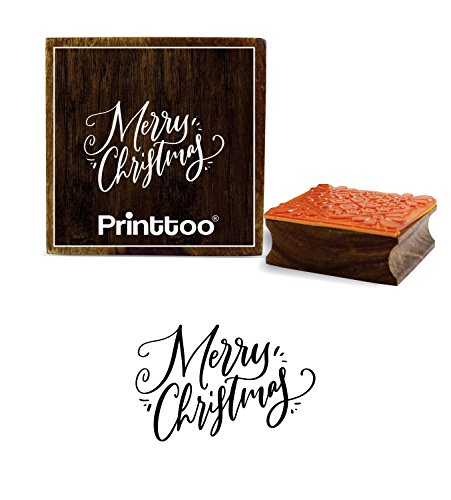 Printtoo Diary Card Print Merry Christmas Word Design Brown Wooden Rubber Stamp-2 x 2 inches
