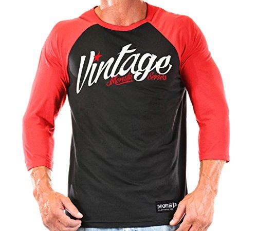 Monsta Clothing Co. Men's Vintage(M3-4TEE225) 3/4 Sleeve 2XL Black/Red