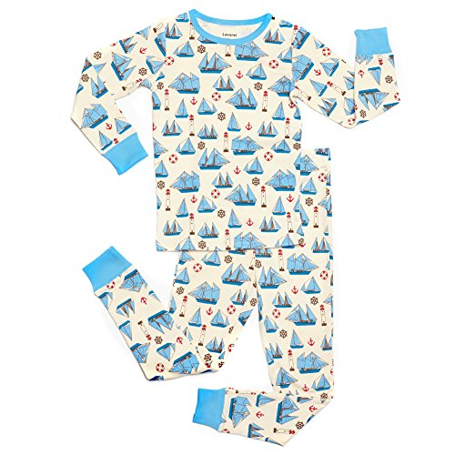 """Leveret Big Boys """"Boats"""" 2 Piece Pajama Set 100% Cotton (Size 9-14 Years) (7-8 Years, Beige & Blue)"""