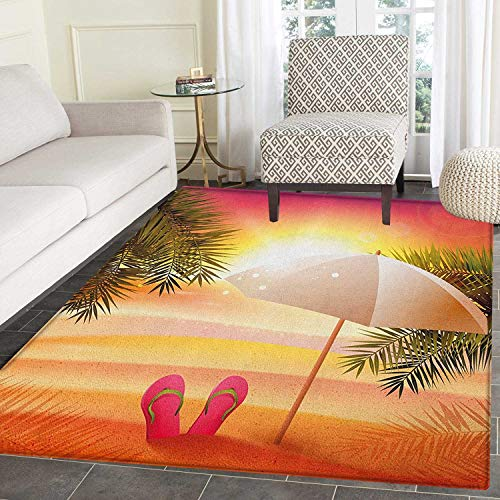 Orange Print Area Rug Sunset at The Beach with Flip Flops Umbrella and Palm Trees Illustration Indoor/Outdoor Area Rug 3