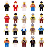 Minifigures Set - 20 Mini Figures Set of Professions Includes Building Bricks Community People from Different Industries Complete