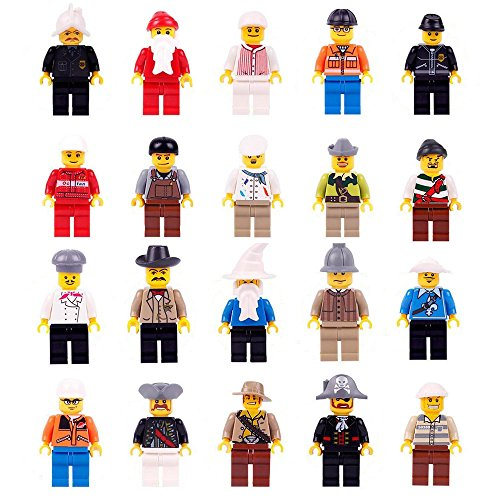 Minifigures Set – 20 Mini Figures Set of Professions Includes Building Bricks Community People from Different Industries Complete
