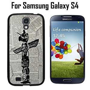 Totem Pole On Newspaper Custom Case/ Cover/Skin *NEW* Case for Samsung Galaxy S4 - Black - Rubber Case (Ships from CA) Custom Protective Case , Design Case-ATT Verizon T-mobile Sprint ,Friendly Packaging - Slim Case