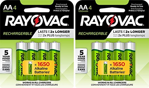 (8 Rayovac AA Recharge Rechargeable 1350mAh NiMH Pre-Charged Batteries, (2 x 4 packs) + Holders)